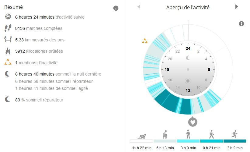 Rapport tracker activité Polar Flow
