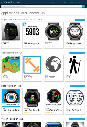 Applications Garmin Connect IQ