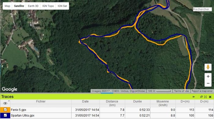 Comparaison précision GPS fenix 5