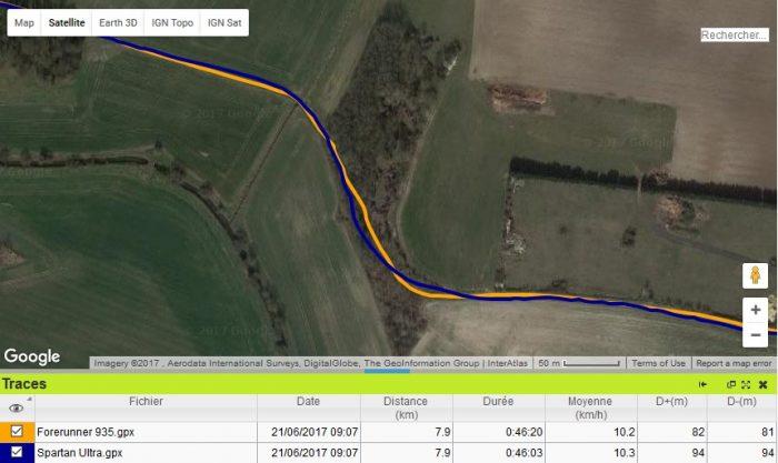 Trace GPS Forerunner 935 passage forêt