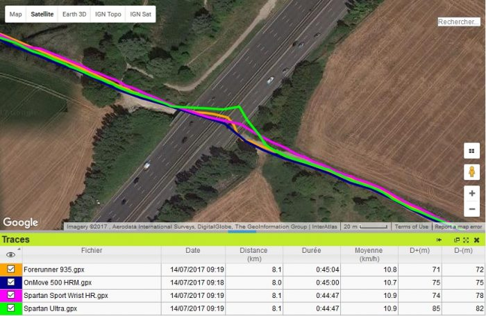 Trace GPS tunnel OnMove 500 HRM