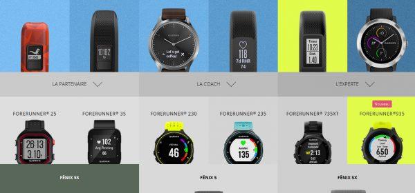 Comparaison Gamme montres GPS Garmin