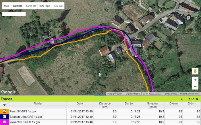 Trace GPS Fenix 5X chemin