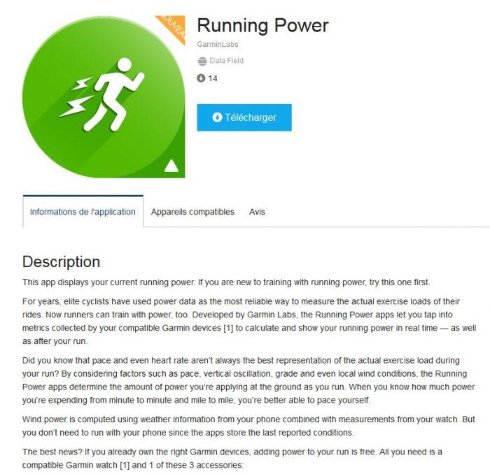 Running power data field