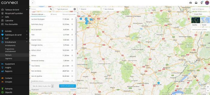 Garmin Connect gérer ses parcours