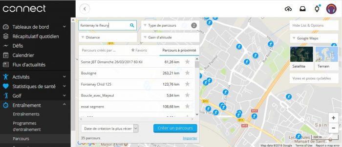 Garmin Connect importer parcours