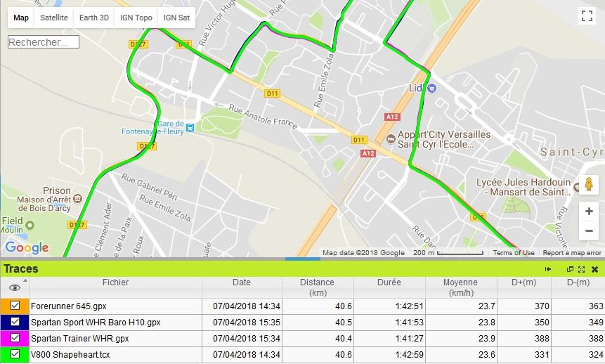Trace GPS vélo Spartan Trainer