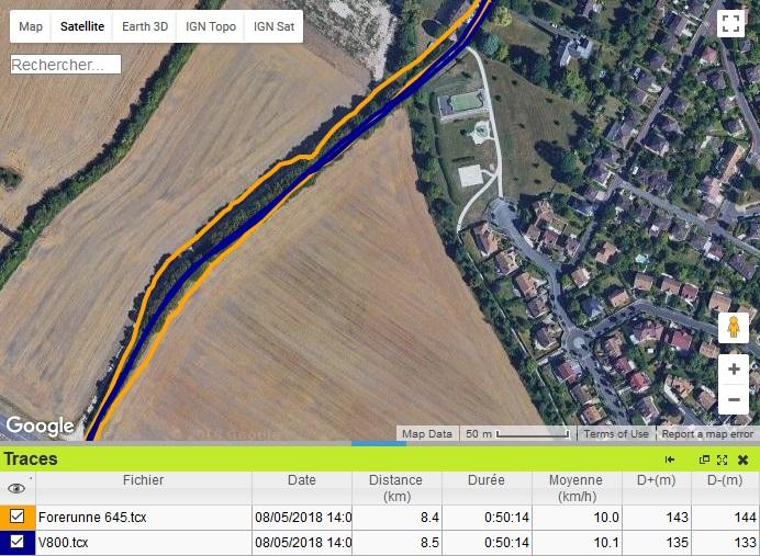 Trace GPS aller retour Forerunner 645