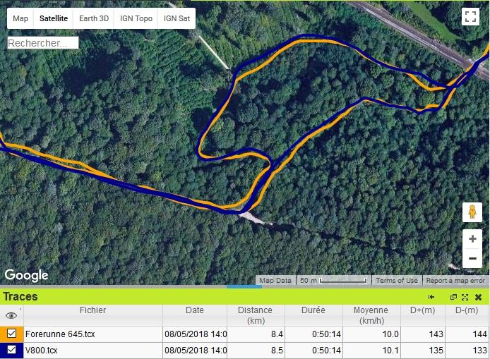 Trace GPS forêt Forerunner 645
