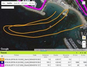 Triathlon Cannes trace natation