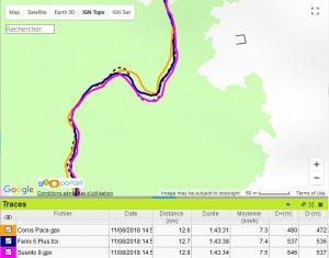 Coros Pace trace GPS alpage