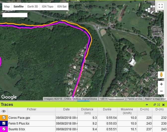 Coros Pace trace GPS entrée forêt