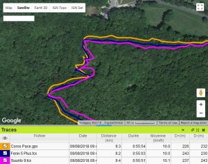 Coros Pace trace GPS forêt