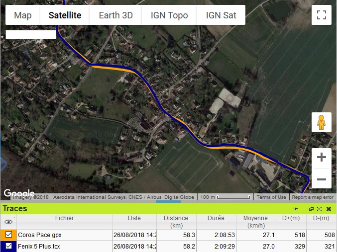 Coros Pace trace GPS vélo