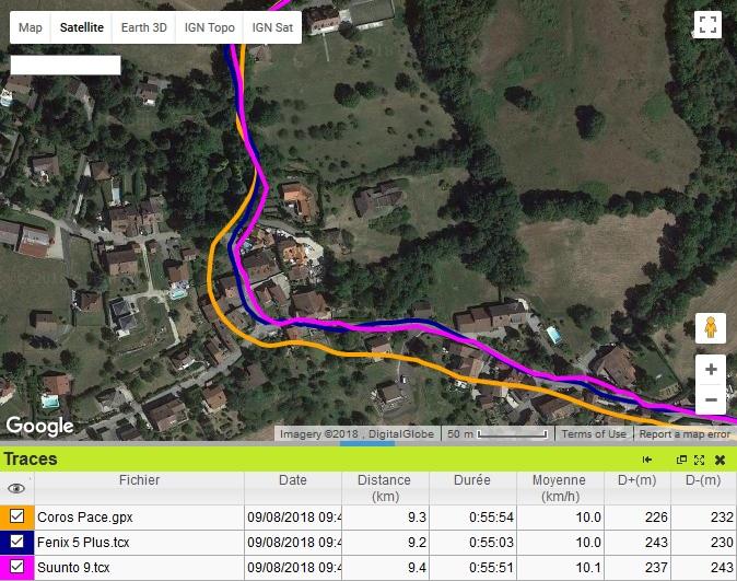 Coros Pace trace GPS ville