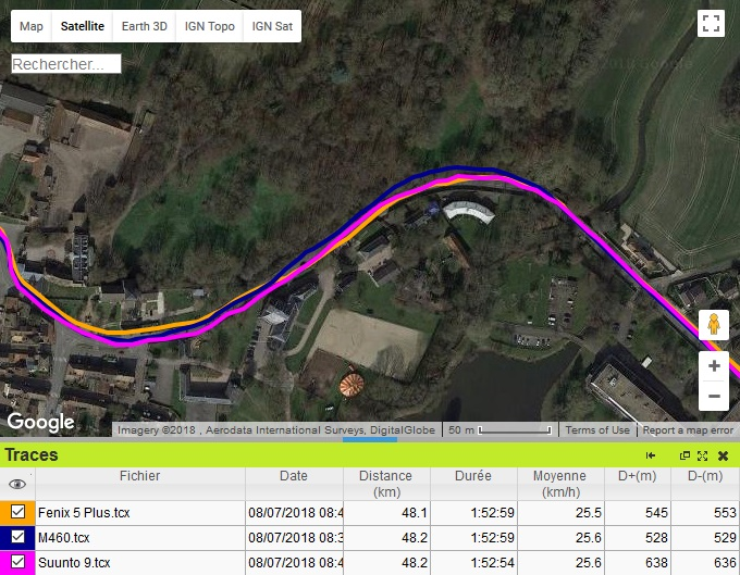 Trace GPS Suunto 9 vélo forêt