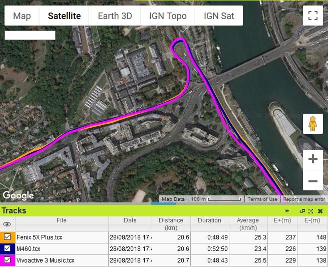 Précision GPS vélo Fenix 5X Plus
