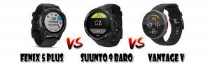 Fenix 5+ vs Suunto 9 Baro vs Vantage V