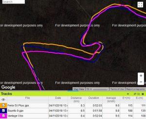 Vantage V trace GPS forêt