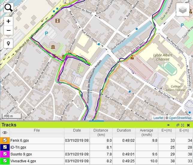 Trace GPS en ville iD-Tri 2
