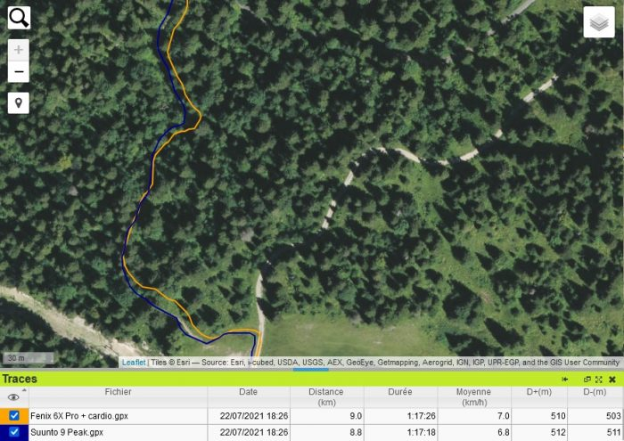 Suunto 9 Peak trace GPS forêt